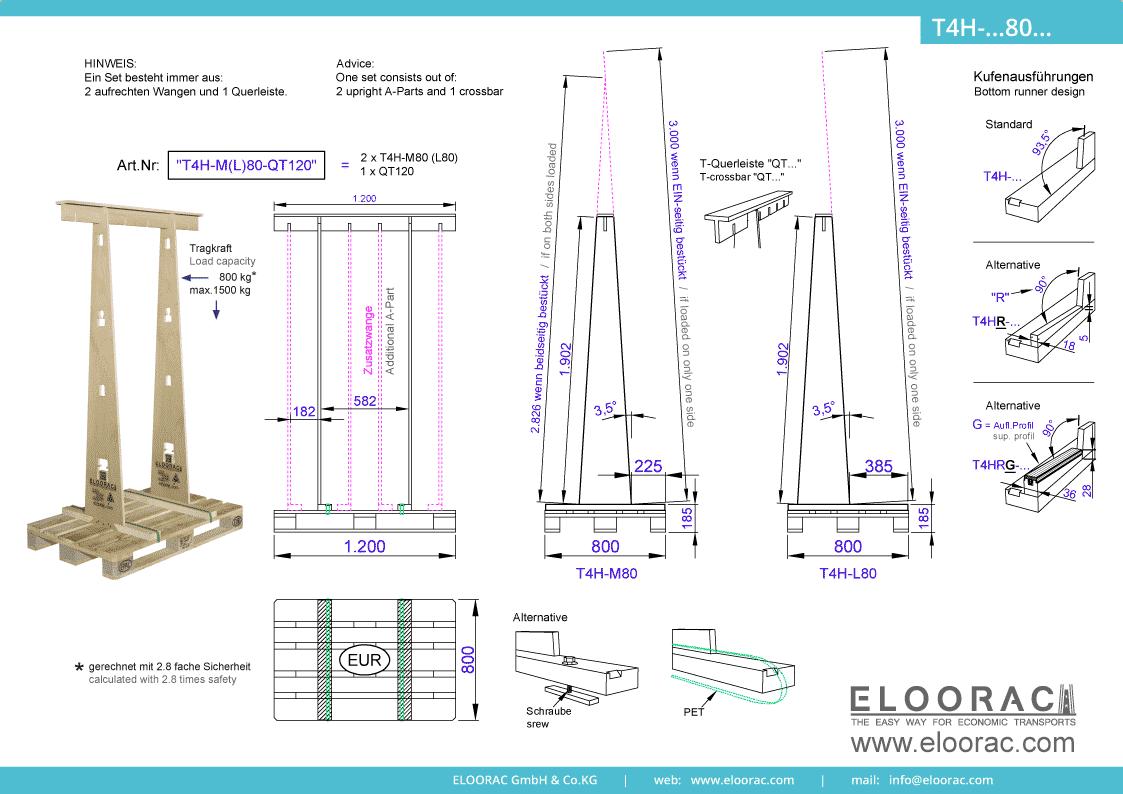 Grundsätzliche Details zum T4H-M80 Transport Gestell von Eloorac. Zu sehen sind grundlegende Maße und Eigenschaften des Transport Racks dessen Einsatzbereich im Transport von Haustüren, Fenster, Fassdaden-Elementen, Blech, Glas, Holzplatten und Naturstein liegt.