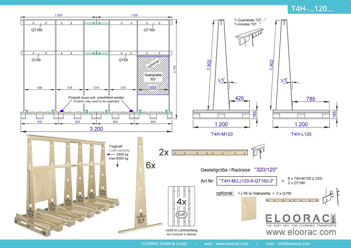 Abbildung des Eloorac Mehrweg Transportgestells T4H-M120-6-QT160-2 mit der optional erhältlichen Stabilisierungsplatte, aufgebaut auf 4 miteinander verbundenen Euro bzw. EPAL Paletten. Dieses Transport Gestell welches für Fenster, Fassaden Elemente, Blech, Holzplatten und Naturstein und natürlich Glas genutzt wird, hat eine Größe von von 320 x 120 x 190 (210) cm (BxTxH).