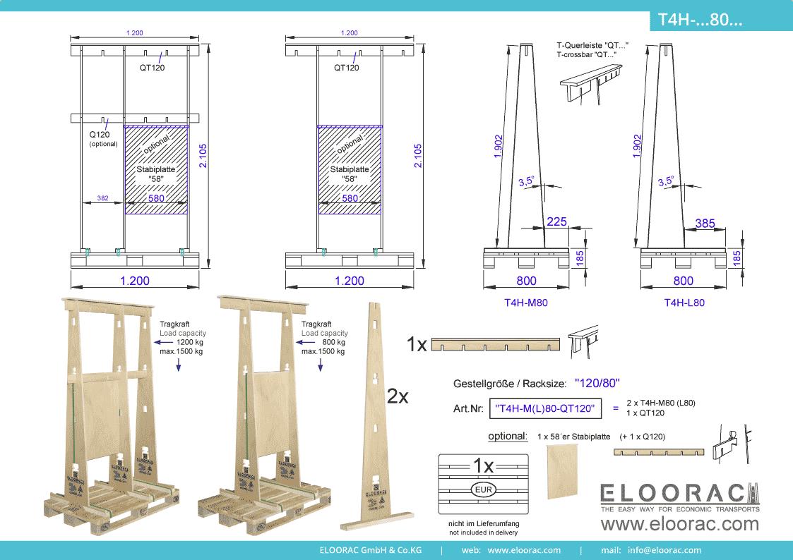 Abbildung des Eloorac Mehrweg Transportgestells T4H-M80-QT120 mit der optional erhältlichen Stabilisierungsplatte. Das Glastransport Gestell hat eine Größe von 120 x 80 x 190 (210) cm (BxTxH) und wird auch als Lagergestell oder A-Bock Gestell für die Unterbringung von flachen Materialien genutzt.