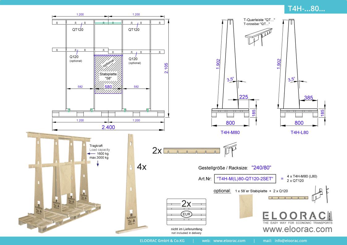 Abbildung des Eloorac Mehrweg Transportgestells T4H-M80-QT120-2 mit der optional erhältlichen Stabilisierungsplatte, welches aus 2 Standard Sets zu einem langen Transportgestell zusammen gesetzt wurde. Dieses Transport Gestell welches für Glas, Glaselemente, Fenster und Fassdaden-Elementen genutzt wird, hat eine Größe von von 240 x 80 x 190 (210) cm (BxTxH).