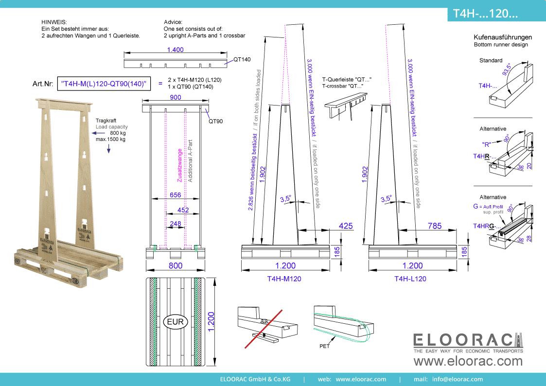 Grundsätzliche Details zum T4H-M120 Transport Gestell von Eloorac. Zu sehen sind grundlegende Maße und Eigenschaften des Transport Racks dessen Einsatzbereich im Transport von Haustüren, Fenster, Fassdaden-Elementen, Blech, Holzplatten, Glas und Naturstein liegt.