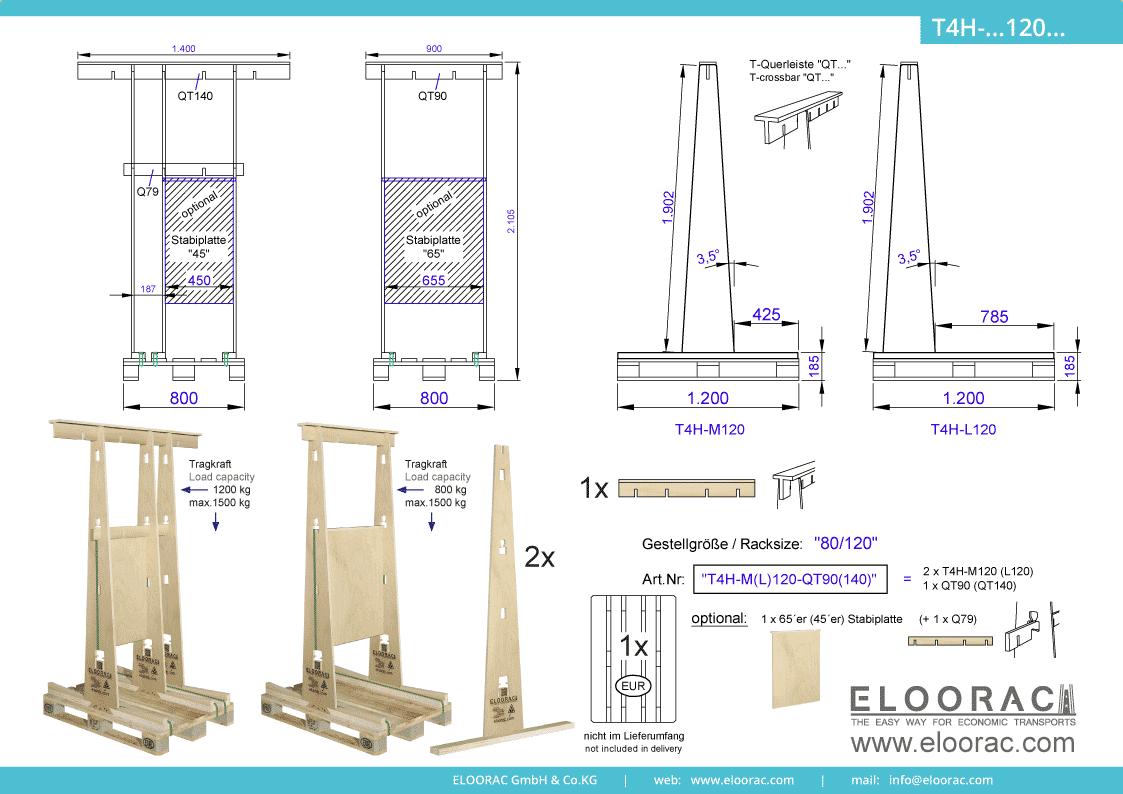 Abbildung des Eloorac Mehrweg Transportgestells T4H-M120-QT... mit der optional erhältlichen Stabilisierungsplatte. Das Fenster Transport Gestell hat eine Größe von von 80 x 120 x 190 (210) cm (BxTxH) und wird auch als Lagergestell oder A-Bock Gestell für die Unterbringung von flachen Materialien genutzt.