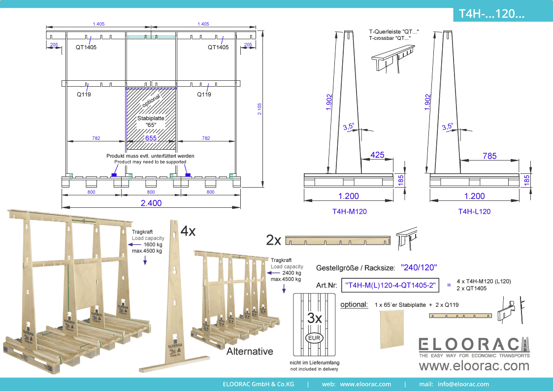 Abbildung des Eloorac Mehrweg Transportgestells T4H-M120-6-QT1405-2 mit der optional erhältlichen Stabilisierungsplatte, aufgebaut auf 3 miteinander verbundenen Euro bzw. EPAL Paletten. Dieses Transport Gestell welches für Fenster, Fassaden Elemente, Blech, Holzplatten und Naturstein und Glas genutzt wird, hat eine Größe von von 240 x 120 x 190 (210) cm (BxTxH).
