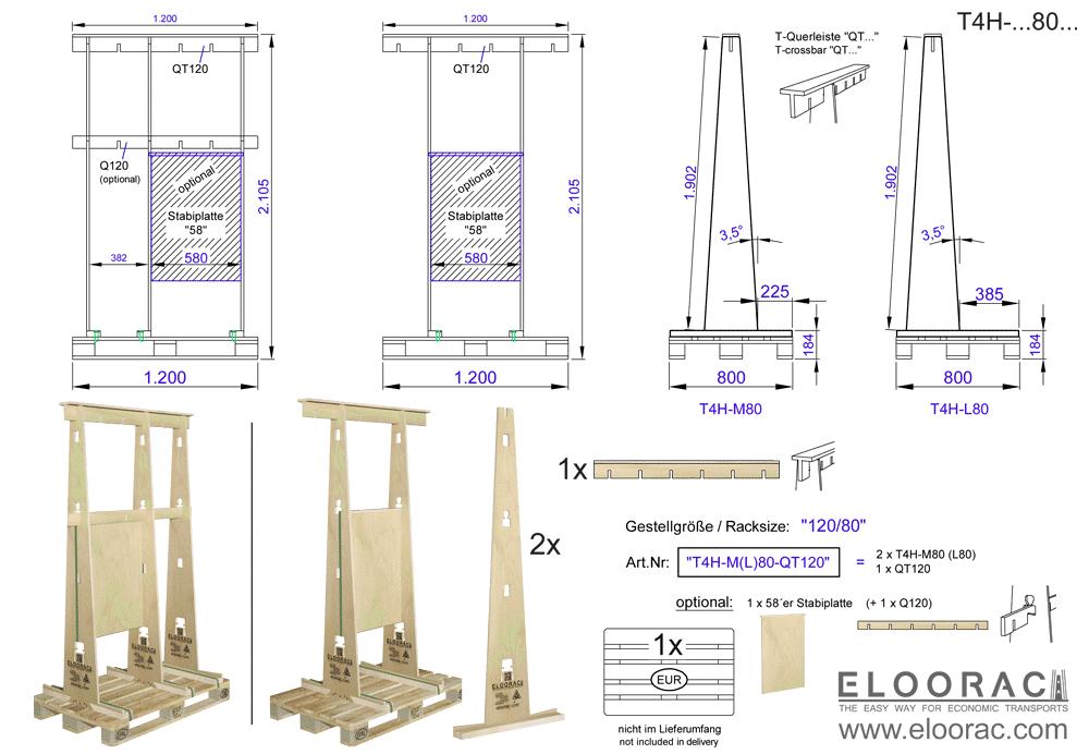 """Zu sehen ist das Eloorac Mehrweg Transportgestell T4H-M80-QT120 mit der optional erhältlichen Stabilisierungsplatte. Das Glasgestell ist als """"M"""". also als mittlere Variante bzw. A-Bock Gestell, sowie als L-Gestell für den Transport von diversen flachen Materialien erhältlich."""