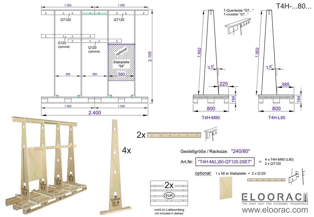 Zu sehen ist das Eloorac Transportgestell welches in diesem Fall aus 2 Standard Sets zu einem 2,4 Meter langen Glasbock oder Fenster Transportgestell zusammen gesetzt wurde. Durch die Verwendung von Europaletten ist es sehr einfach die Transport Gestelle immer weiter zu verlängern.