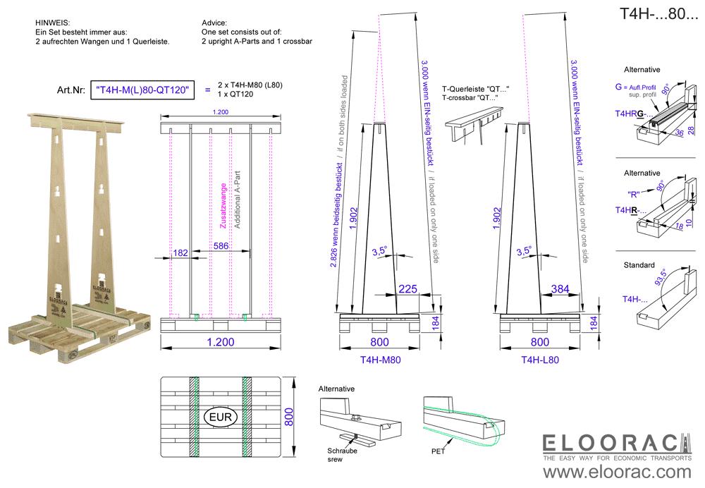 Details des T4H-M80 Transportgestells von Eloorac. Zu sehen sind die wichtigsten Maße des Glasbock Gestells welches auf für den Transport von Blechen, Fenstern oder auch Plexiglas verwendet wird.