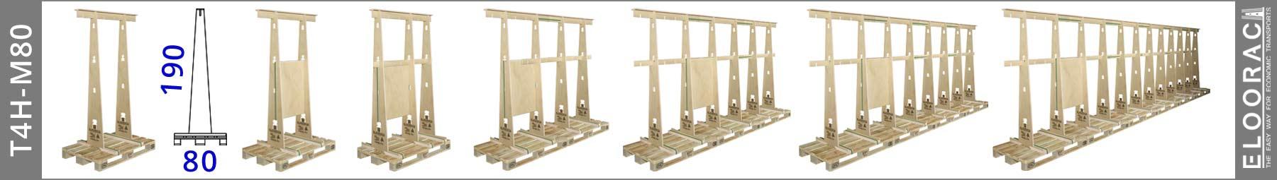 Abbildung von verschiedenen Eloorac Transportgestellen vom Typ T4H-M80. Auch ist gut zu erkennen das mit Eloorac Produkten eine enorme die Variationsvielfalt erreicht werden kann. Diese Gestelle sind ebenso für Fenster, Haustüren Fassadenelementen oder z.B. dem Messebau geeignet. Aber auch in der Glasbranche werden die T4H-M80 Gestelle eingesetzt. Grund dafür ist die schmale Auflagefläche für die Produkte