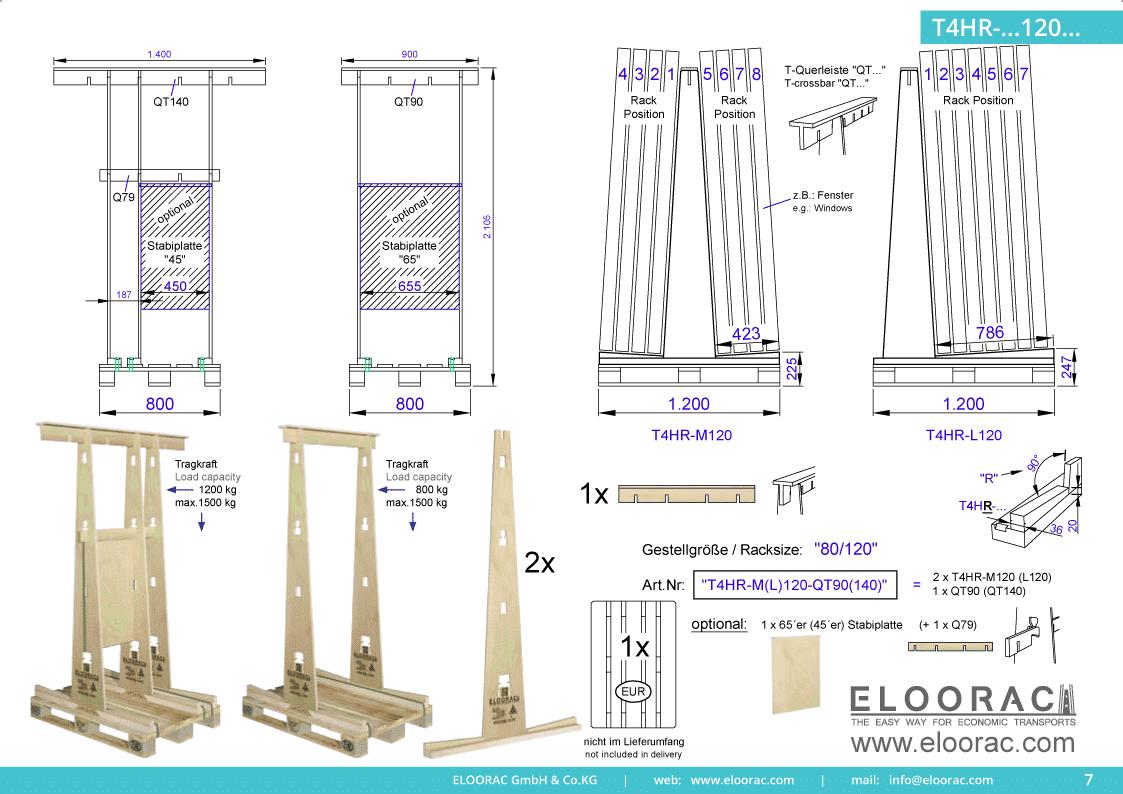 Abbildung des Eloorac Mehrweg Transportgestells T4HR-M120-QT120 mit der optional erhältlichen Stabilisierungsplatte. Das Fenster Transport Gestell hat eine Größe von von 80 x 120 x 190 (210) cm (BxTxH) und wird auch als Lagergestell oder A-Bock Gestell für die Unterbringung von flachen Materialien genutzt.