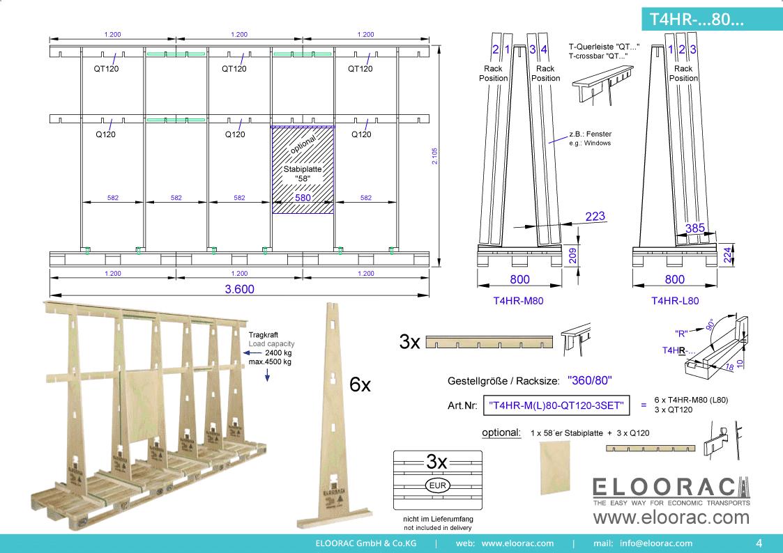 Abbildung eines T4HR-M80 Eloorac Mehrweg Transportgestells in der Größe 360 x 80 x 190 (210) cm (BxTxH) welche durch die Verwendung von 3 EPAL Paletten erzielt wird. Hier ist die Flexibilität zu erkennen, die mit der eines LEGO Baukastensystems vergleichbar ist.