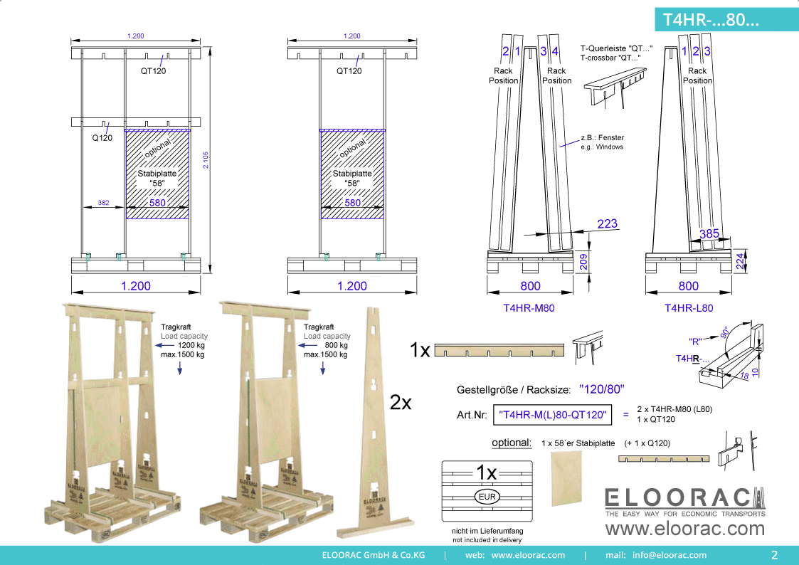 Abbildung des Eloorac Mehrweg Transportgestells T4HR-M80-QT120 mit der optional erhältlichen Stabilisierungsplatte. Das Fenster Transport Gestell hat eine Größe von von 120 x 80 x 190 (210) cm (BxTxH) und wird auch als Lagergestell oder A-Bock Gestell für die Unterbringung von flachen Materialien genutzt.