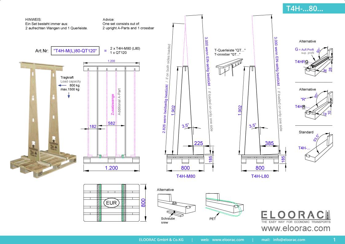 Grundsätzliche Details zum T4H-M80 Transportgestell von Eloorac. Zu sehen sind die wichtigsten Maße und Ausführungen des Fenster Transport Gestells welches auch im Bereich Transport von Haustüren oder Fassdadenelementen seinen Einsatz findet.