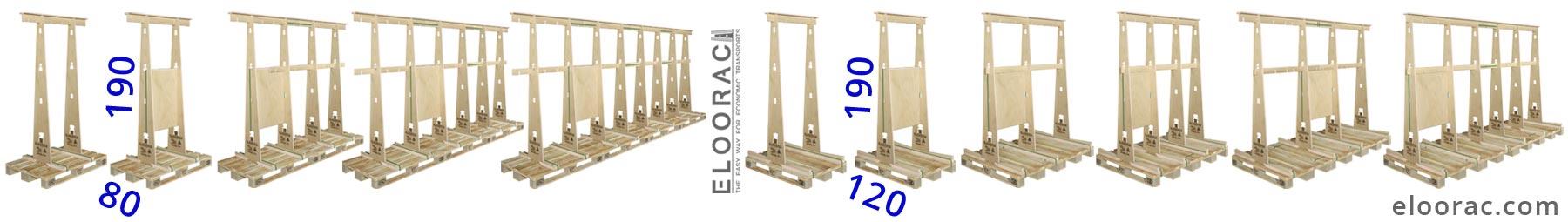 Abbildung von verschiedenen Eloorac Fenster Transport Gestellen vom Typ T4HR... Die Variationsvielfalt die man mit Eloorac Produkten erreicht, ist hier recht deutlich zu erkennen. Diese Fenster Gestelle können auch für den Transport von Schiebetür-Anlagen, Haustüren, Fassadenelementen oder Glas Paneelen genutzt werden.