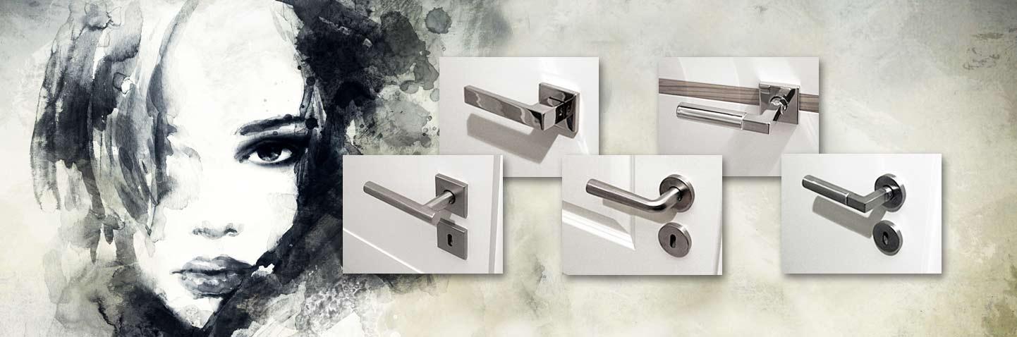 scoop Türgriffe bzw. Türgriff Garnituren in Edelstahl matt und Edelstahl poliert auf Weisslack Türen montiert.