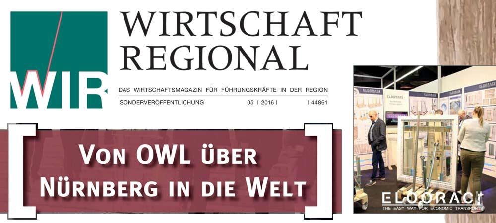 Pressebericht von Wirtschaft Regional über den Eloorac Transportsysteme Messestand auf der Fensterbau Frontale 2016 in Nürnberg.